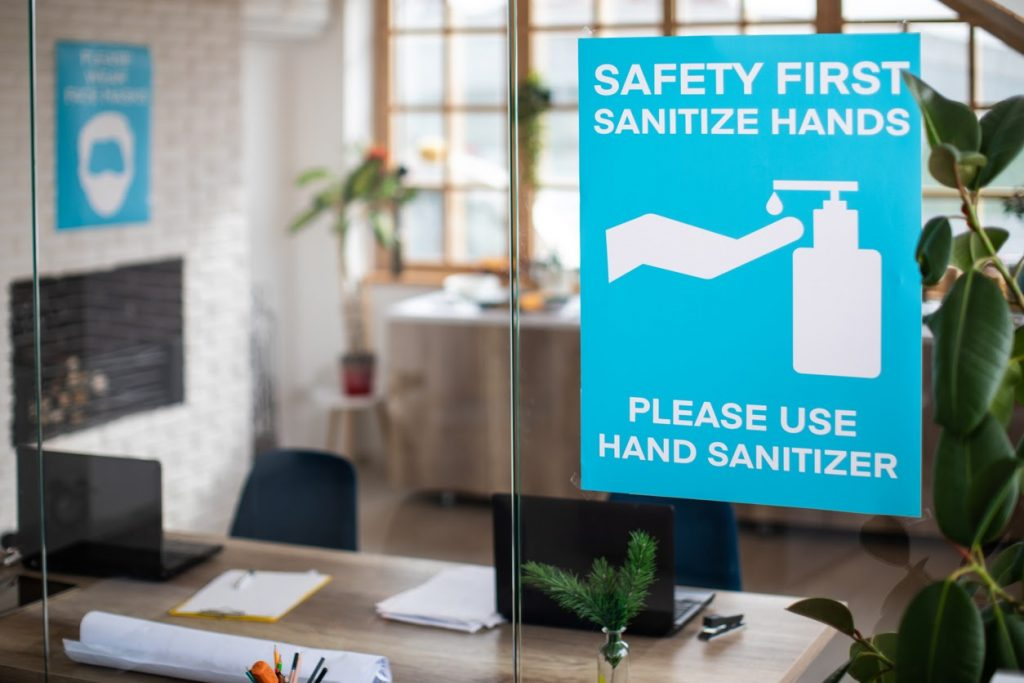 hand sanitizer must be provided when re-opening your office