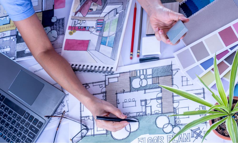 interior designer planning dental floor plan