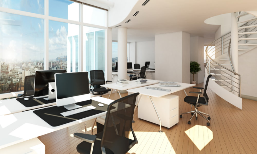 a modern office with great natural lighting