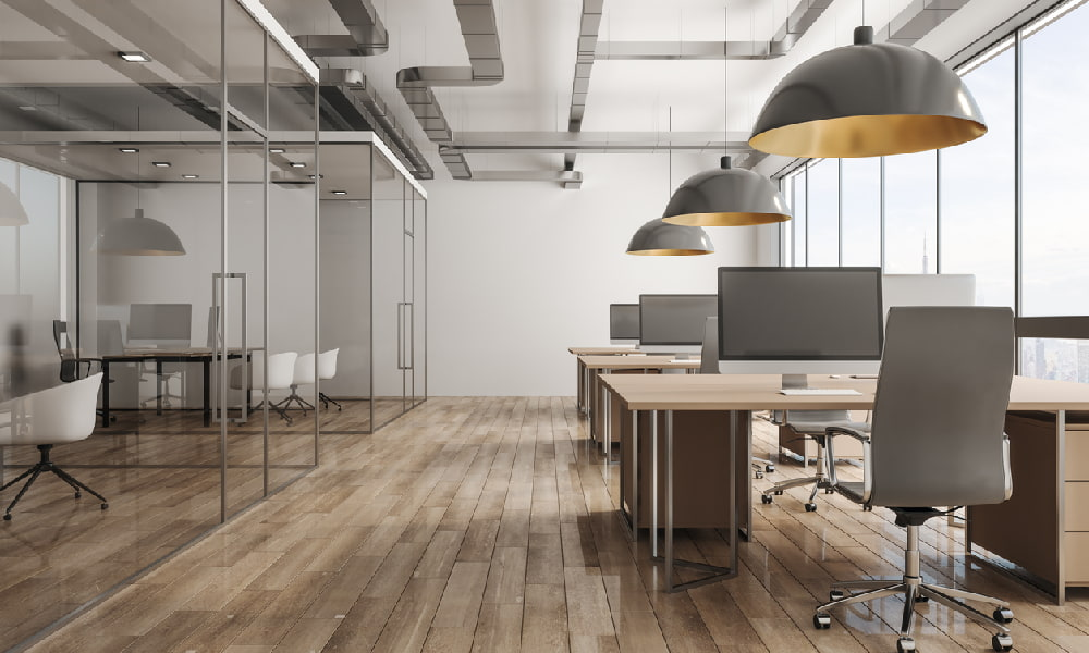 A modern office shows some examples of FF&E in commercial real estate.