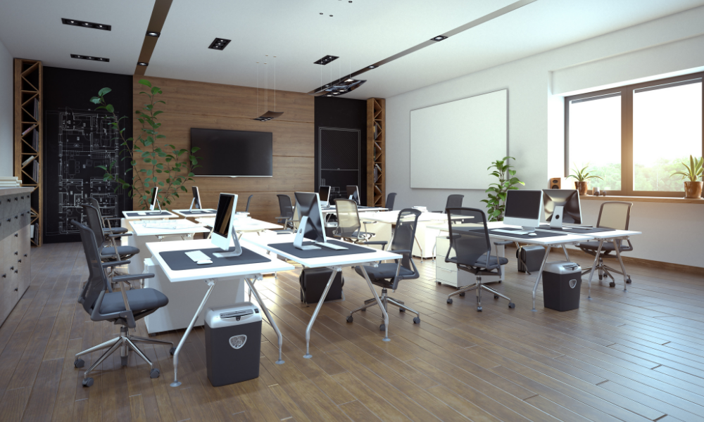 modern office design incorporated into corporate real estate