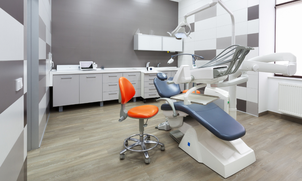 A dental office layout of a dental treatment room
