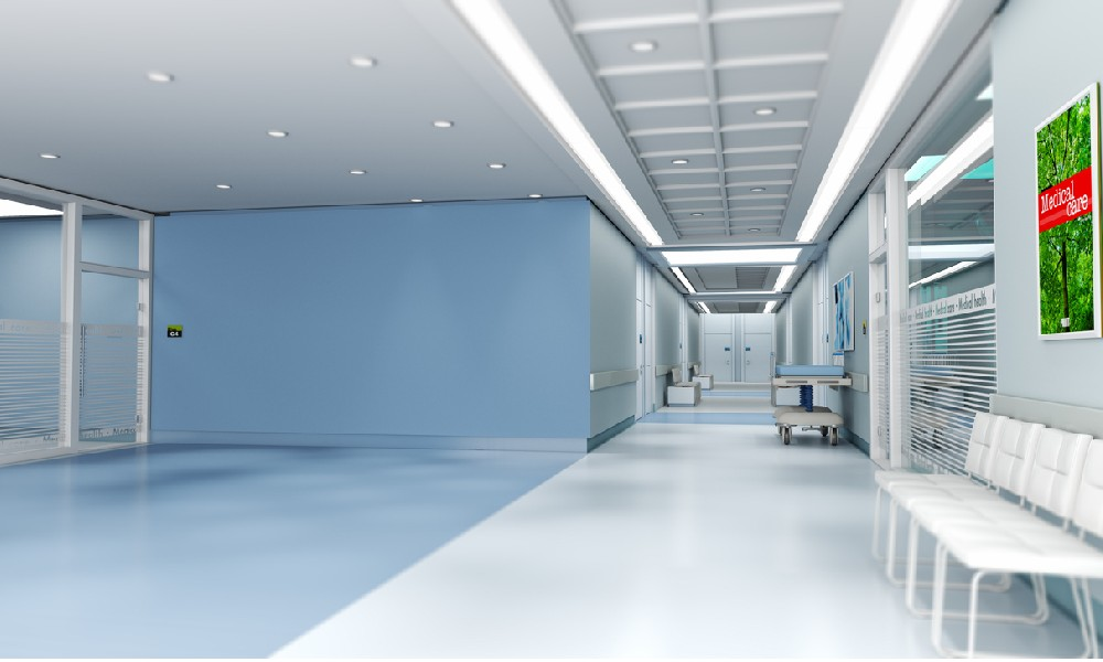 An empty doctor's office reveals a view of the practice's medical office floor plan.