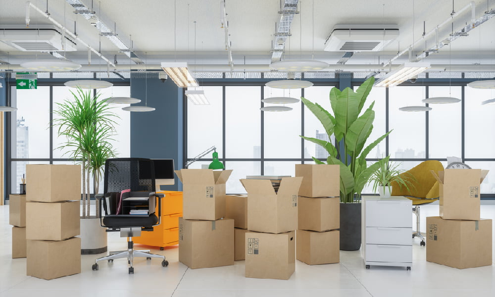 a business packing up and getting ready to undergo an office relocation