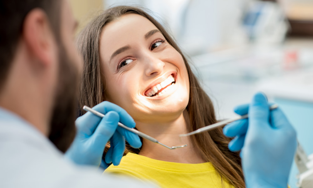 inside dental office with client