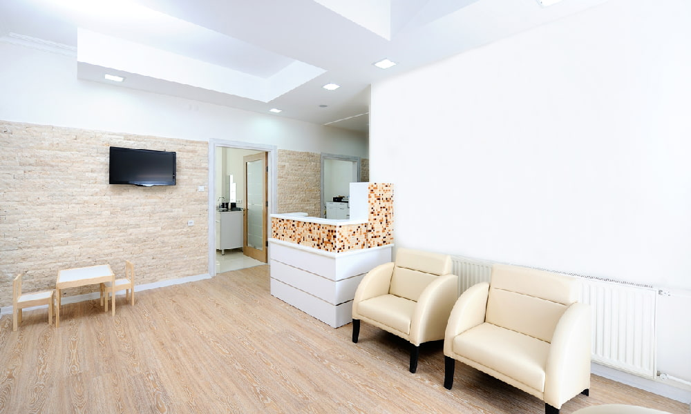 A modern design produces a light, attractive dental office waiting room.